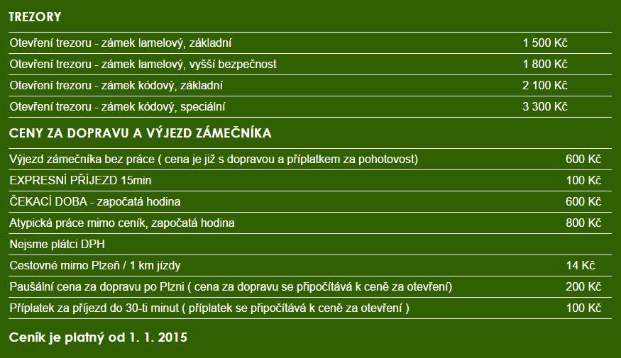 zámečník Plzeň ceníky