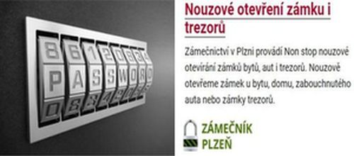 Zámečnická pohotovost v Plzni nabízí otevírání všech druhů zámků 24 hodin denně 7 dní v týdnu
