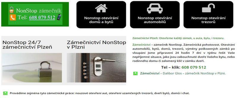 NonStop zámečnictví Zámečnická pohotovost 24-7 Tel 608079512 Plzeň